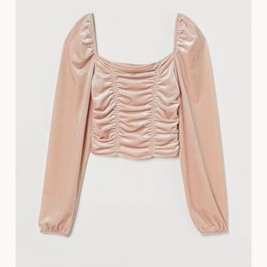 Draped crop top with long sleeves Size M